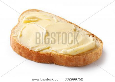 Bread With Butter Isolated On White Background, Selective Focus