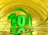 number ten in abstract mirror space - 3d illustration poster