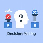 Decision making under uncertainty, pros and cons, for and against, outweigh scale, bias and mindset, positive or negative, between two sides, control test, vector flat illustration poster