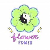 Colorful Flower Power lettering with 60s hippie style ying-yang daisy flower poster