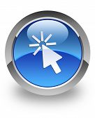 Cursor icon on glossy blue round button poster