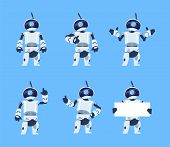Cute robots. Cartoon android character set, futuristic machine with different poses. Vector isolated illustration objects futuristic technological engineer work with humanoid characters poster
