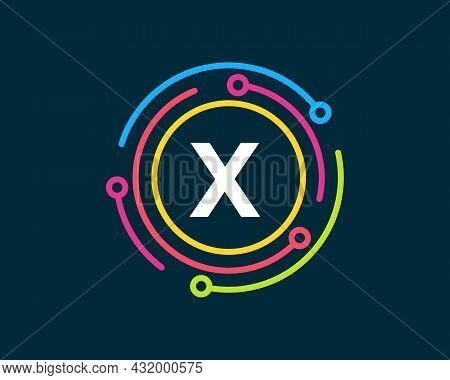Technology Logo Design With X Letter Concept. Letter X Technology Logo. Network Logo Design