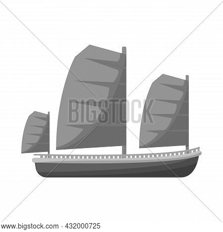 Isolated Object Of Ship And Vietnamese Icon. Collection Of Ship And Boat Stock Vector Illustration.