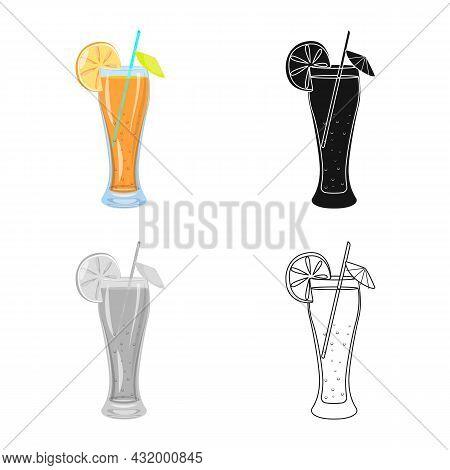 Vector Illustration Of Juice And Orange Icon. Collection Of Juice And Fruit Stock Vector Illustratio