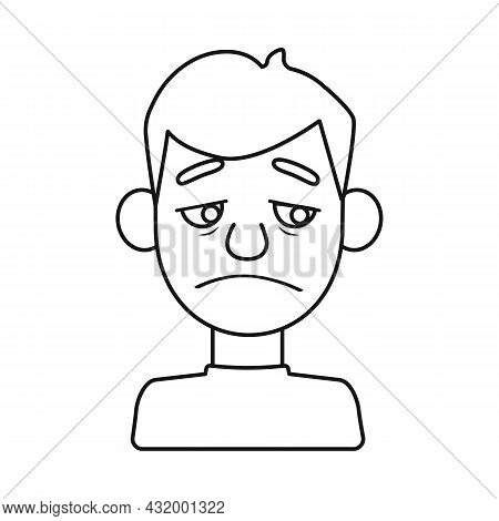 Isolated Object Of Guy And Sad Sign. Collection Of Guy And Person Vector Icon For Stock.