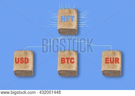 Nft - Usd, Btc And Eur. Nft And Currencies On Wooden Cubes