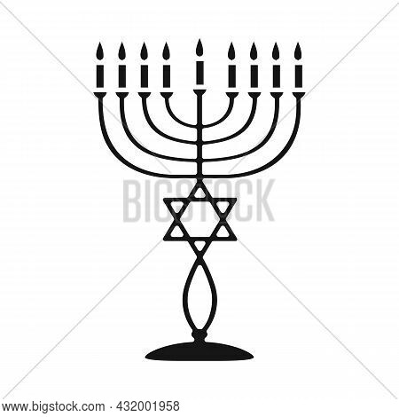 Vector Design Of Menorah And Star Icon. Web Element Of Menorah And Bright Stock Vector Illustration.