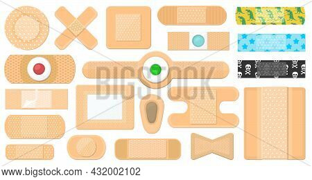 Bandage Vector Cartoon Icon Set . Collection Vector Illustration Band Plaster On White Background.is