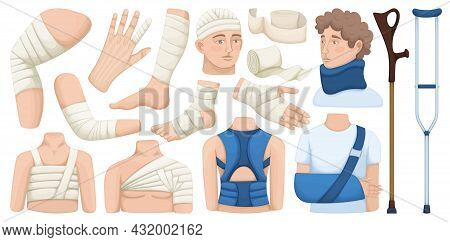 Bandage Vector Cartoon Icon Set . Collection Vector Illustration Band On White Background.isolated C