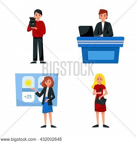 Vector Design Of News And Studio Sign. Collection Of News And Tv Stock Vector Illustration.