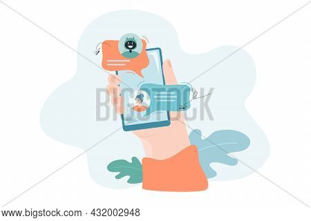 Chatting With Bot Online Flat Vector Illustration. Hand Holding Smartphone, Chat Of Woman And Robot