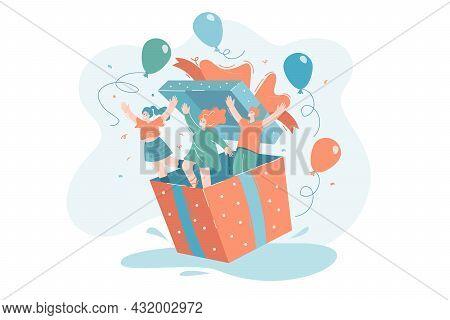 Tiny People Jumping Out Of Giant Gift Box. Flat Vector Illustration. Happy, Joyful Friends Celebrati