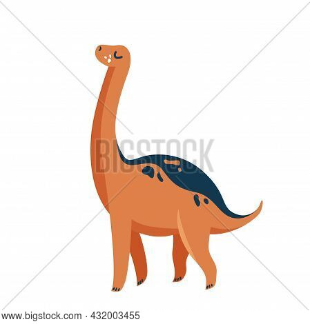 Cute Baby Dinosaur Diplodocus Isolated On White Background. Kid Character Dino Monster For Cool Nurs