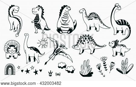 Dino Cute Icon Vector Illustration Set With Animal Baby Dinosaurs And Design Elements In Sketch Grap