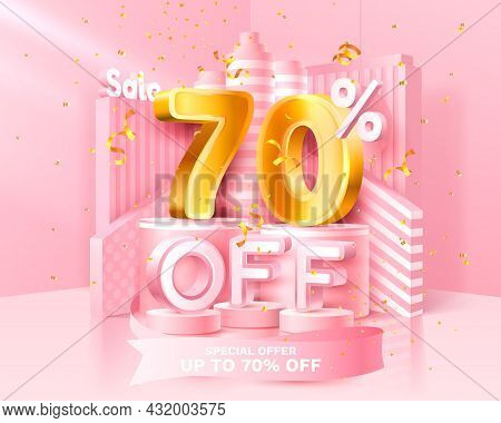 70 Off. Discount Creative Composition. 3d Sale Symbol With Decorative Objects, Golden Confetti, Podi