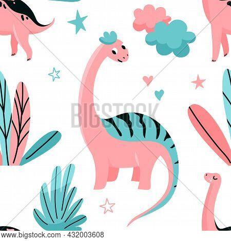 Cute Dinosaurs Seamless Vector Pattern With Star, Floral, Flower, Leaves, Cloud. Cool Kid Nursery Pr