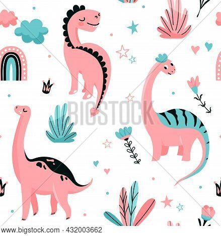 Cute Dinosaurs Seamless Vector Pattern With Dots, Crown, Flower, Rainbow, Cloud, Leaves. Cool Kid Nu