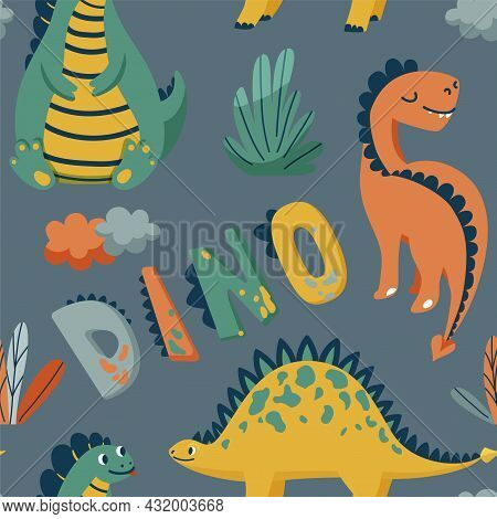 Cute Dinosaurs Seamless Vector Pattern With Bright Color Dino, Leaves, Cloud, Text Sign On Dark Grey