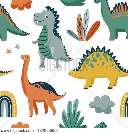 Cute Dinosaurs Seamless Vector Pattern With Bright Color Dino, Leaves, Cloud, Rainbow, Star On White