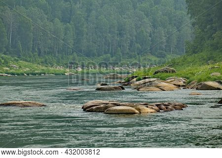 Russia. The South Of Western Siberia. Kemerovo Region. Mountain Shoria. The Rocky Banks Of The Mras-