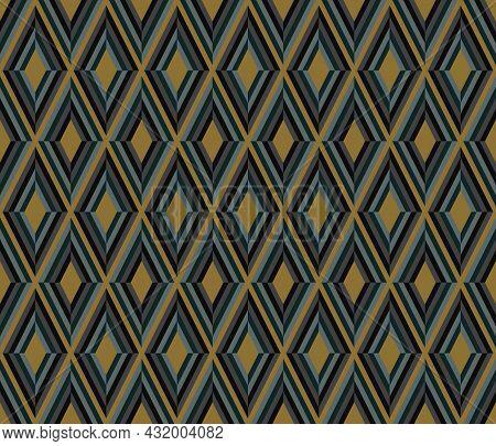 Geometric Background Pattern Seamless. Diamond Shape Black Gray Gold Color. Surface Design For Appar
