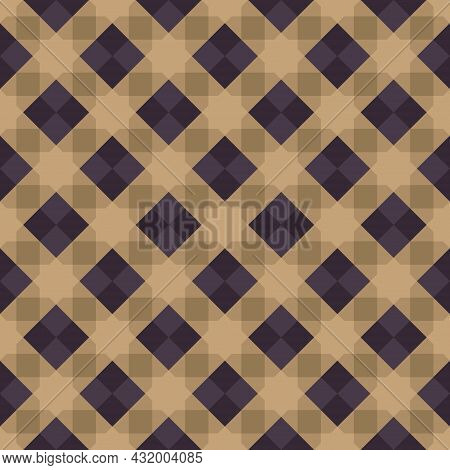 Seamless Abstract Geometric Pattern Purple Brown. Arrange Them In A Grid. Octagram Shape Background