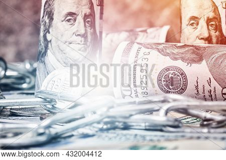 Pile Of Money, Chain And Bitcoin. Bitcoin And One Hundred Dollar Banknotes With Chain. Cryptocurrenc