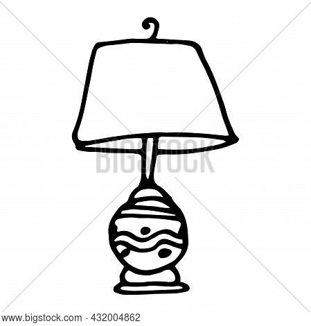 Vector Lamp Under A Lampshade On An Oval Base With A Pattern . Vector Insulated Table Lamp With A Pa