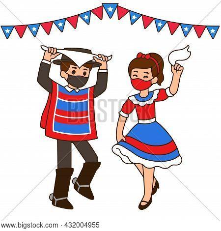 Fiestas Patrias 2021, Chilean National Holiday. Cute Cartoon Children Dancing Cueca In Face Masks Du