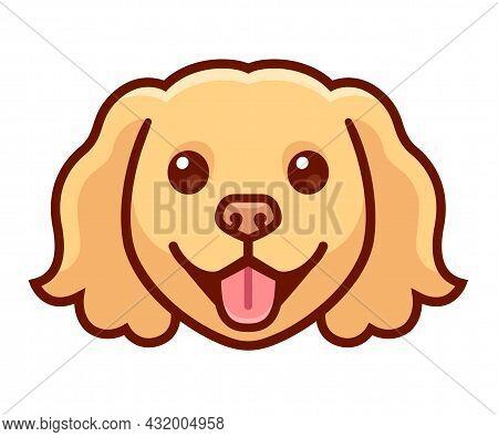 Funny Cartoon Spaniel Head Drawing. Cute Dog With Long Ears, Vector Clip Art Illustration.