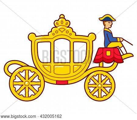 Gouden Koets (golden Coach) Dutch Royal Family Carriage Used In Prinsjesdag (prince Day). Cute Carto