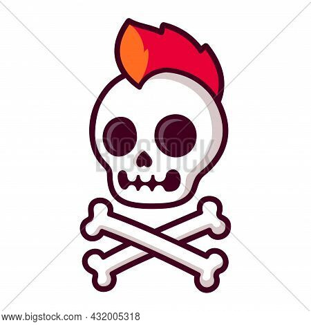 Cool Cartoon Punk Rock Skull And Crossbones With Bright Red Mohawk. Comic Style Jolly Roger Symbol.