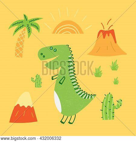 Hand Drawn Cartoon Vector Illustration Of Cute Dinosaur, Volcano, Sun. T-shirt Design For Child And