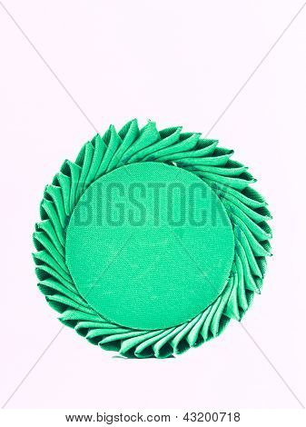 A Miniature Of Thai Traditional Tray Made From Green Silk Isolated On White Background