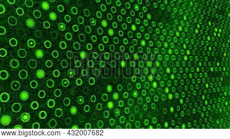 Background Of Flashing Dots On Colored Electronic Field. Animation. Glowing Electronic Background Wi