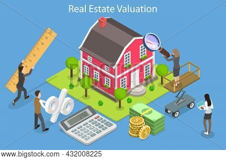 3d Isometric Flat Vector Conceptual Illustration Of Real Estate Valuation, Market Value And Property