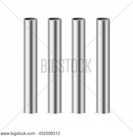Realistic Detailed 3d Steel Or Metal Pipes Set On Row Isolated On A White Background. Vector Illustr