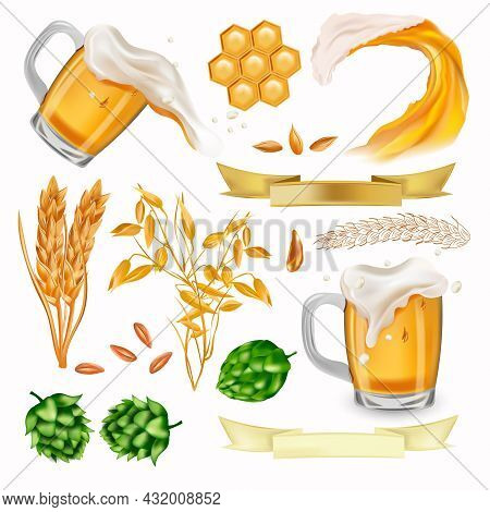 Hop, Ears Of Wheat, Barley, Cereals Wheat, Beer In Glass With Splashing, Honeycomb, Beer Wave. Vecto