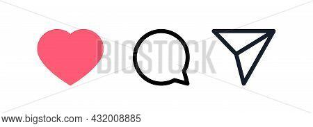 Kyiv, Ukraine - August 1, 2021: Red Heart, Send, Dialog Line Icons. Popular Instagram Media Set Icon