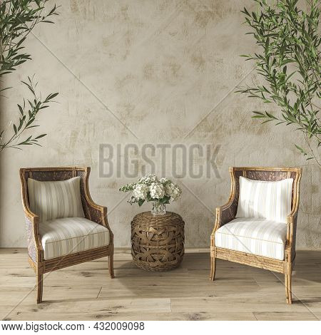 Coastal Design Living Room. Mock Up Stucco Wall In Cozy Home Interior Background. Hampton Style 3d R