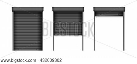 Set Of Black Window Blinds. Realistic Plastic Window Shutters. Closed And Open Jalousie Mockup Templ