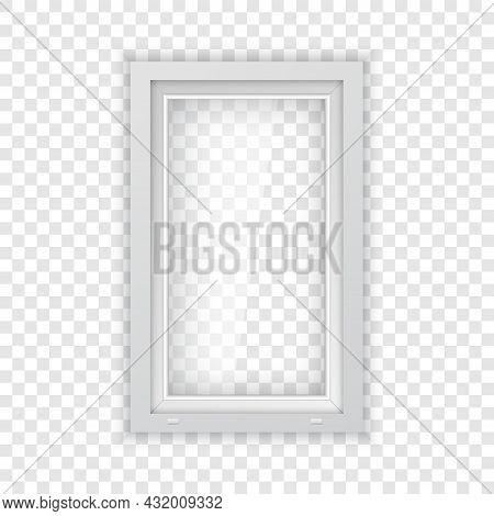 Metal Plastic Window With White Frame. Realistic Plastic Window Mockup Template For Outdoor Interior