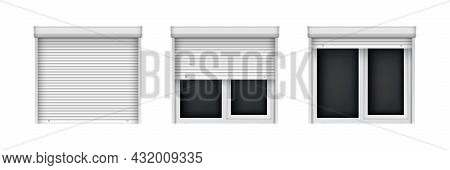 White Double Metal-plastic Windows With Blinds. Closed And Open Jalousie For Plastic Windows. Realis