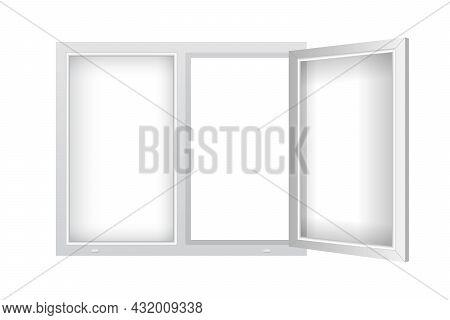 Realistic Plastic Window With Open Casement. Double Plastic Window Mockup Template. Windowpane Frame