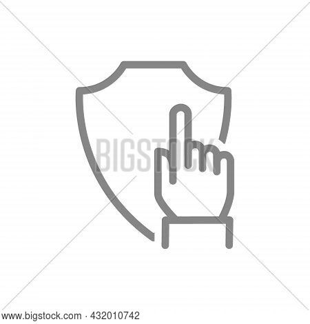 Protective Shield With Hand, Forefinger Line Icon. Protection, Security Sign, Choice, Direction
