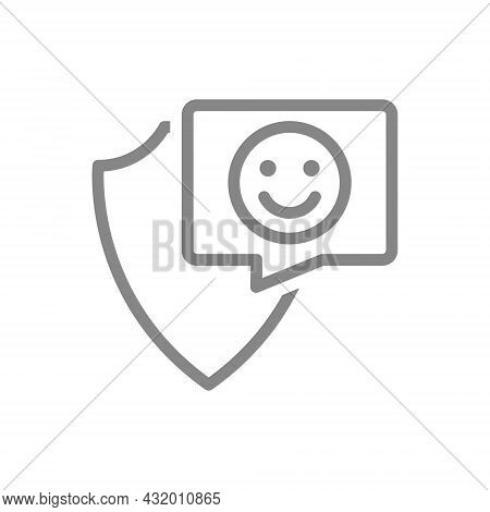 Protective Shield With Happy Face In Buble Speech Line Icon. Protection, Emoji Rating, Feedback, Pos