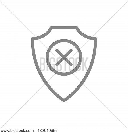 Protective Shield With Cross Mark Line Icon. Protection, Security Sign, Negative Assessment Of The P