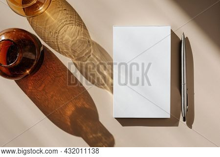 Blank white paper notebook copy space