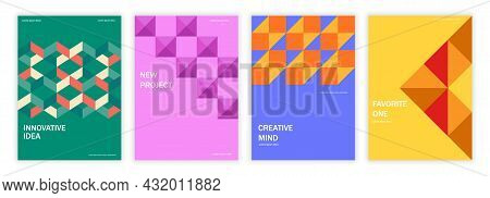 Geometric Set Of Brochures. Collection Of Template For Corporate Identity. Design Elements For Cover